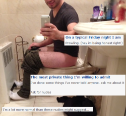 okcgoldmine:  via syntheticalsunrise. awww yeah, toilet selfies on okc