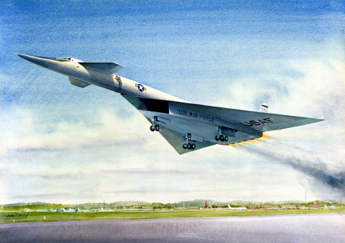 """The XB-70, Mach 3 Bomber - 1961"" Artist: John McCoy. via defenseimagery.mil"