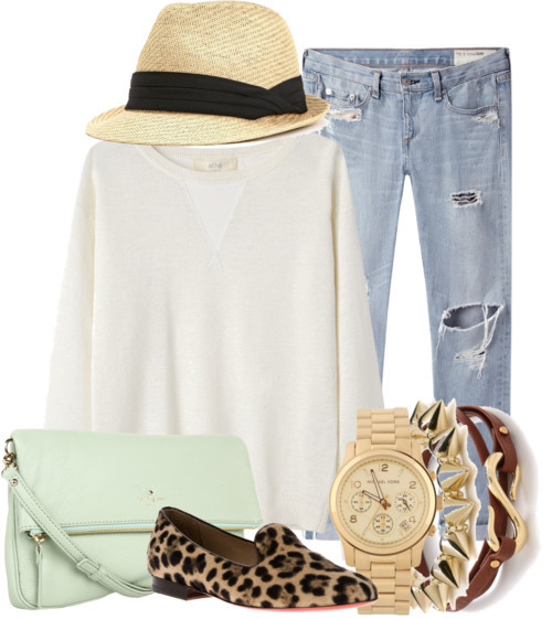 Saturday Casual by qu1nn featuring yellow gold jewelryVanessa Bruno Athé colorful sweater / rag & bone/JEAN colorful jeans / Slip on loafer, $325 / Kate Spade  shoulder bag / Michael Kors water resistant watch, $345 / CC SKYE yellow gold jewelry / Gorjana stacking bangle / Charlotte Russe straw fedora hat