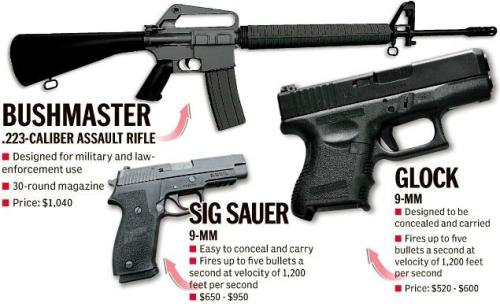 These were the weapons used in the Newtown Elementary School shooting.  A Newtown Rabbi just spoke on NPR, to tell the story of waiting at a fire station with the parents of children who had not yet been accounted for, or who had been taken to the hospital. Late yesterday afternoon the Governor went to that fire station, to tell all of them that none of their children had survived. I cannot image that enabling this senseless massacre was what the founding father's had in mind when drafting the 2nd Amendment, and I honestly cannot understand how anyone doesn't hink it's time to get serious about gun control in America.