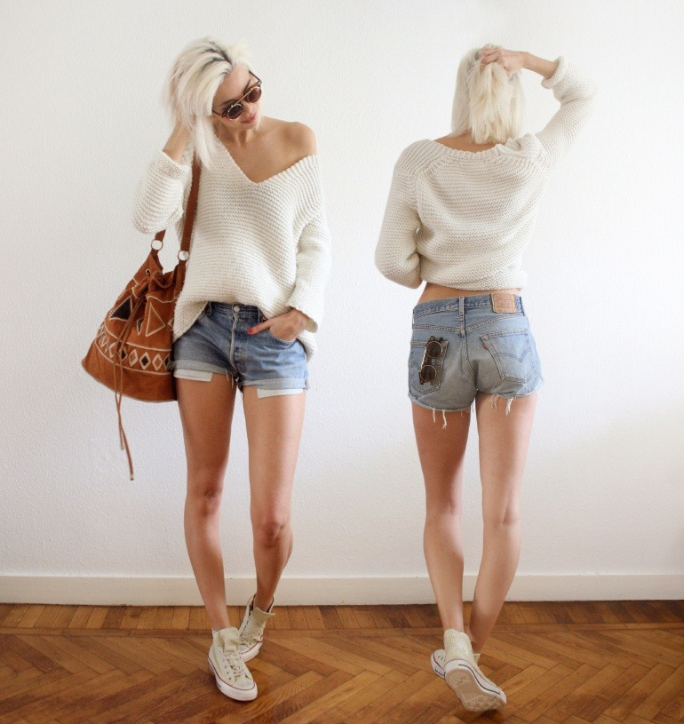 what-do-i-wear:  Levis shorts, Zara knit, Chicwish bag, Romwe sunnies, Converse All Stars (image: connectedtofashion)