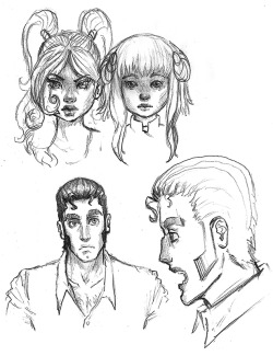 Sketches of some of my original characters: Opal, Mia, and Vladimir.