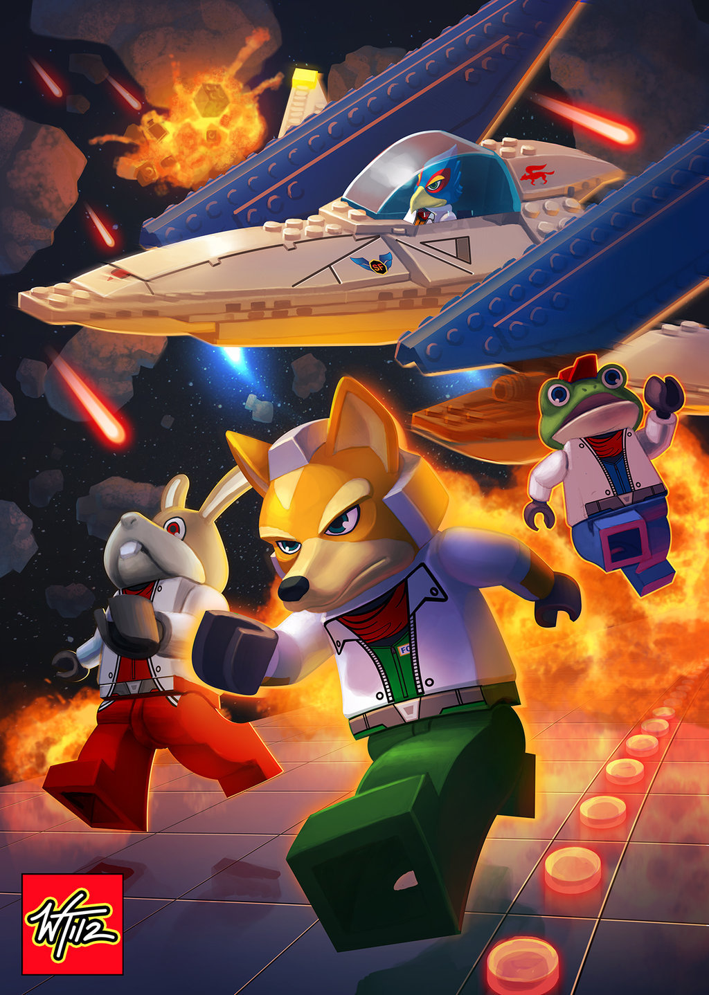 Lego Star Fox by Wes Talbott. Great follow-up to his similar Lego treatment for The Legend of Zelda: Ocarina of Time a few months back. Everybody's jettin' out of there so fast, no one noticed Slippy Toad behind them, getting blasted. They might find his cap and blocky legs floating with all the other debris later. BUY Star Fox 64 3D, Star Fox Command