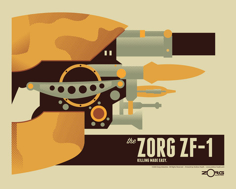 "Now available online HERE ""Zorg ZF-1""16x204 color screen printSigned and numbered edition of 50Inspired by The Fifth Element"