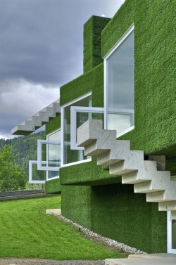 Grass covered home in Frohnleiten, Austria by Weichlbauer Ortis Architects