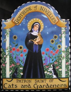 womenandcats:  Carolee Clark - St Gertrude of Nivelles, patron Saint of Cats and Gardeners