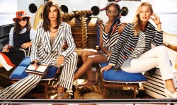 Jacquelyn Jablonski, Jourdan Dunn and Toni Garrn bring some style and elegance to the preppy boat party depicted in Tommy Hilfiger's current ad campaign, shot by McDean and styled by Templer as per usual.