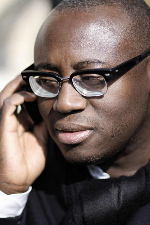 Edward Enninful, fashion and style director for W magazine and contributor at ShowStudio, outside the Stella McCartney AW13 show in Paris.