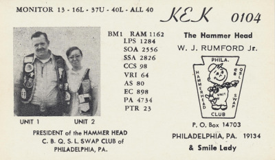 The Hammer Head & Smile Lady - Philadelphia, Pennsylvania QSL cards have been used by Citizen Band (CB) radio folks for many years to indicate that they have talked together on a certain radio frequency, date and time.