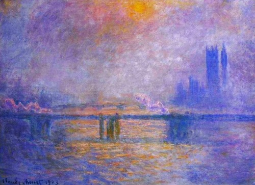 musiciansandpainters:  Charing Cross Bridge, The Thames by Claude Monet, 1903.
