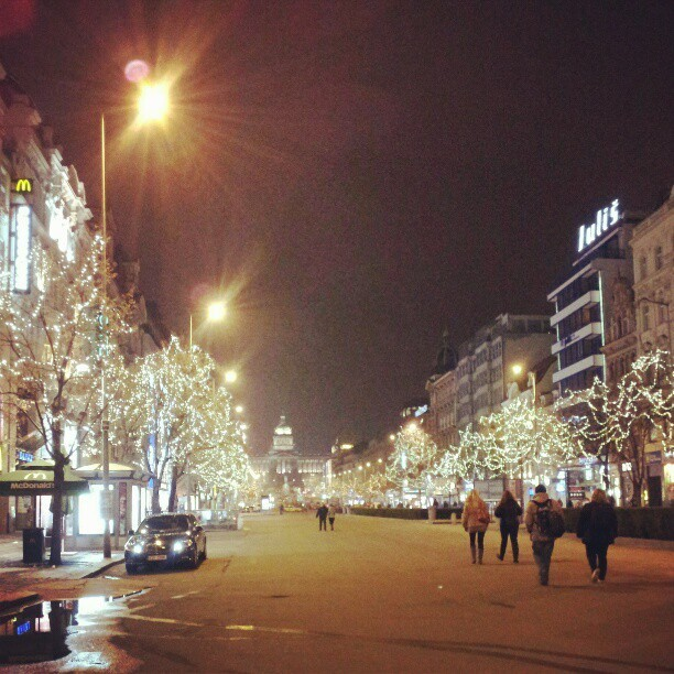 xbaka:  Prague, Wenceslas Square + filter #prague #freezingcold (at Můstek)  Christmas…