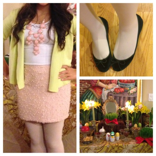 Persian New Year OOTD! White sequined tank, pink confetti-esque (how do I describe it? Haha) miniskirt, pastel green cardigan, link bubble necklace and green ballet flats