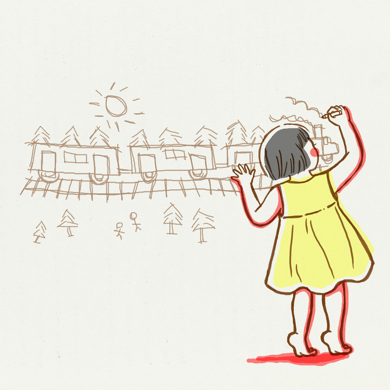 "hitrecord:  ""my train on the wall""  Illustration by KenSa  ~x~"