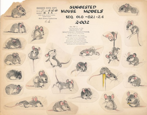 Louie Schmitt - Field mouse model sheet for Bambi {via Deja View}
