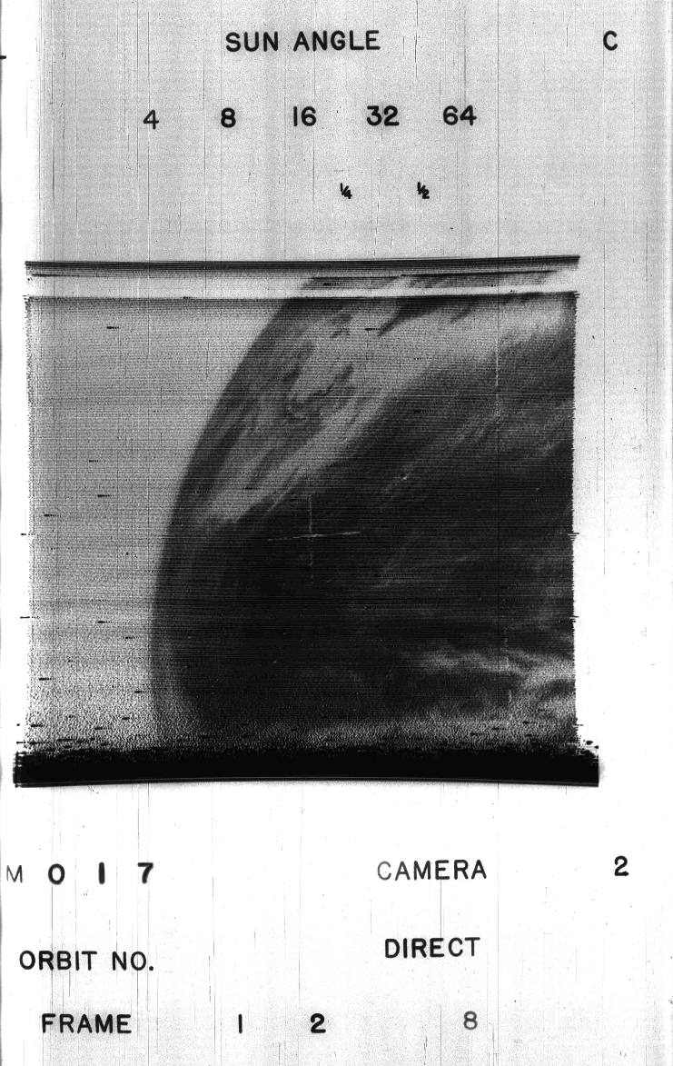 The historic first weather satellite image, taken from NASA's TIROS-1 on April 1, 1960. The forecast was a good one on that day. (via ImaGeo)