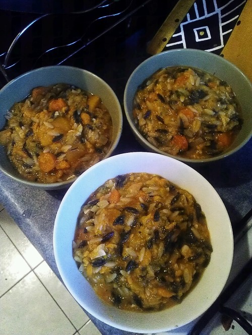 mainlyfood:  I made what I shall call 'Tiger soup'. Pumpkin, sweet potato, carrot, chicken, grated zucchini and tuxedo orzo with home made chicken stock.