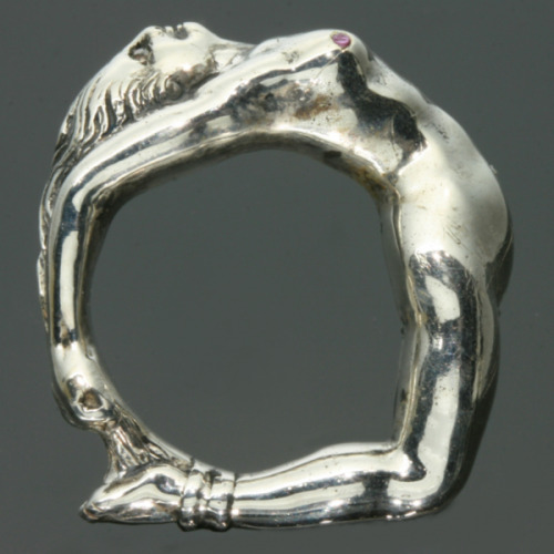 antique-jewelry:  Art Nouveau ring nude woman wrapped around finger