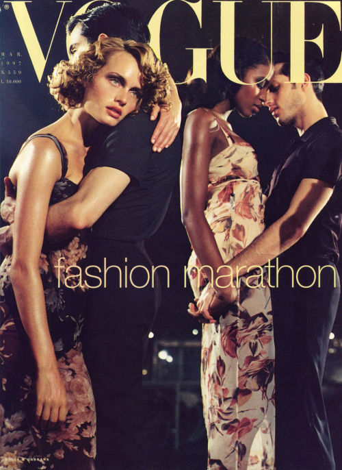 Vogue Italia, March 1997Photographer : Steven MeiselModels : Amber Valletta & Naomi Campbell