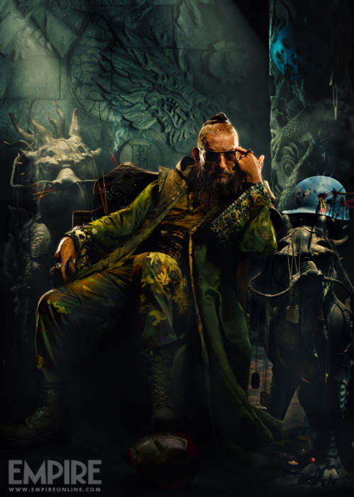 "Marvel at Midnight Love this ""extended look"" poster of the Mandarin. An Iron Man mask and a Captain America helmet. Anyone see anything else?"
