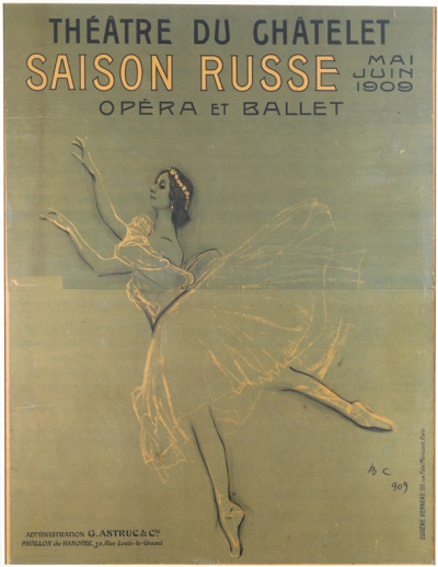 books0977:  Poster for the Ballets Russes. Anna Pavlova in Chopiniana. Théatre du Châtelet, Paris. Illustration by Valentin Serov. 1909. V&A. Serge Pavlovich Diaghilev (1872-1929) was a ballet impresario and founder of the Ballets Russes. Called dictator, devil, charlatan, sorcerer, charmer - all names of a single man whose unique character and driving ambition caused a ferment in European culture. Diaghilev's greatest achievement was his dance company - the Ballets Russes.