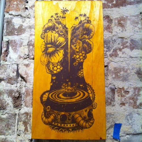 Screen print on wood. I have a few available…. Thanks to everyone who came to my show last night