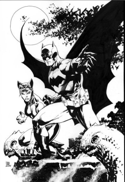 batman-blog:  jules616:  Batman and Catwoman by Jim Lee.  http://batman-blog.com/