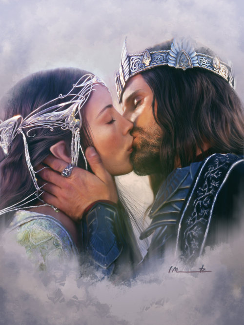 illustrateyourworld:  Arwen and Aragorn by *imorawetz