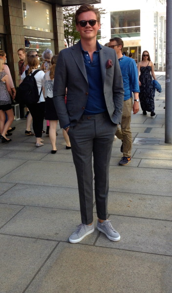 sartorial-living:  Street look: Summer in the city I was wearing: Morris Heritage suit Della Ciana polo Gregers sneakers Morris Heritage pouchette Epos sunglasses For more details please click » here «
