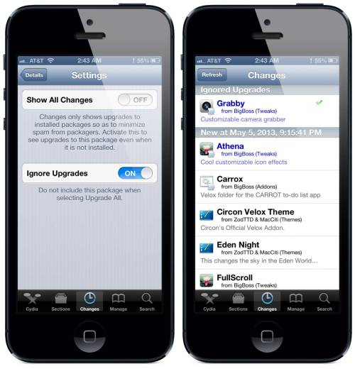 Cydia Tip: Set Cydia to ignore upgrades to certain packages by changing your preferences in the Package Settings of individual apps. Useful for situations when a newer version doesn't support your OS, or (as with the recent Grabby update) when it's a paid update you don't need.