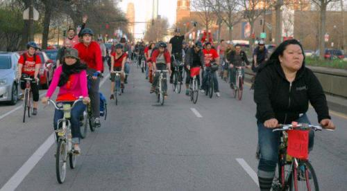Earlier today, Critical Mass riders dedicated the ride in solidarity with all those fighting the closing of more than 54 public schools in Chicago