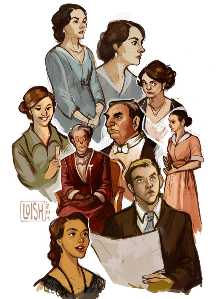 downton abbey sketchdump, used screencaps as ref. i love this show! just finished season 2, no spoilers please :)