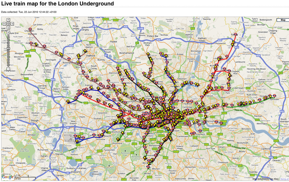 Unofficial Map: Live Map of London Underground Trains Submitted by Travertine Libertine without comment. —— Transit Maps says: Created by Matthew Somerville. Totally hypnotic after a while as all those little yellow train dots start racing around (it kind of reminds me of a mash-up between the Scotland Yard board game and the original Railroad Tycoon). Childhood reminiscing done, it really is amazing what can be done with raw data pulled via an API these days. Stuff like this is the future of transit information.