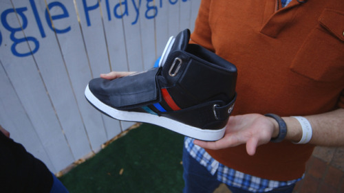 "thisistheverge:  Of course Google made a talking shoe for SXSW 2013 (video) Last year, Google created an entire village near the Convention Center. This year, just outside the convention center, Google has opened a ""playground."" And what better way to experience the playground than with a shoe that taunts you with a male, British voice.  Well, would you talk about innovation."