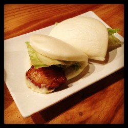 Say hello to my little friends…Hirata Buns @ Ippudo. Steamed pork buns served with Ippudo's original spicy sauce & mayo.   (at Ippudo)