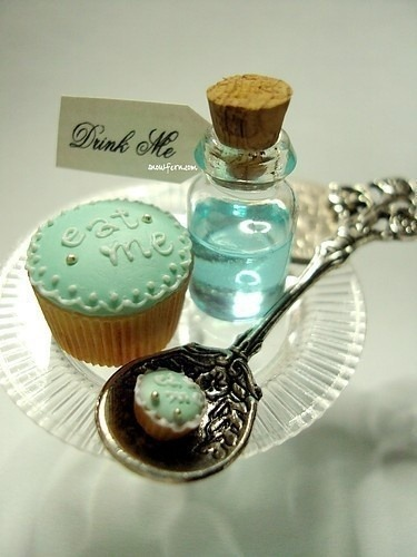 justbelievenkeepfighthing:  Alice in Wonderland, Drink me | Turquoise & Mint on We Heart It - http://weheartit.com/entry/62218202/via/DreamerWings