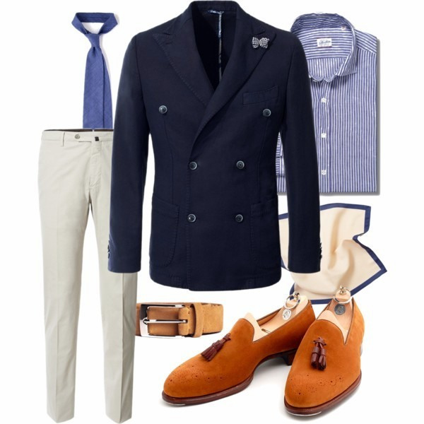 dresslikea:  Monday inspiration - blue&white Jacket: Altea Trousers: Pantaloni Torino Shirt: Glanshirt Belt: Berg&Berg Shoes: Alfred Sargent Tie: Drake's London Pocket square: P.Johnson Tailors