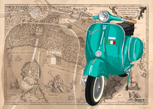 beautyonwheels:  Vespa illustration by Francisco Bosoletti