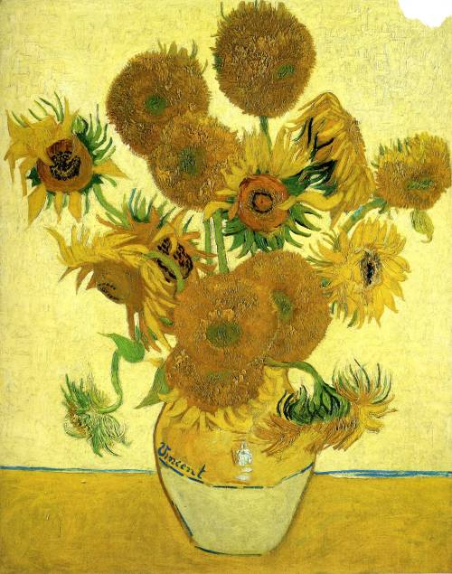 art-library:  Vincent van Gogh, Vase with Fifteen Sunflowers, 1888.  love it! :/