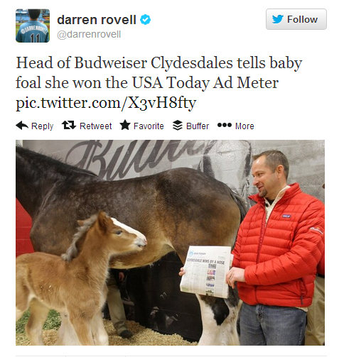 Good job, little girl. You just won Ad Meter! Budweiser's Clydesdale wins Ad Meter by a nose:http://usat.ly/UnOXkW