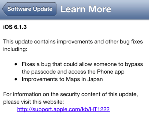 Apple Releases iOS 6.1.3 Update To Fix Lock Screen Flaw & Improvements to Japan Maps