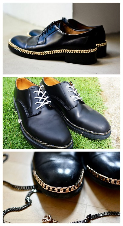 DIY Two Raf Simons Gold Plated Chain Derby Shoes Tutorials. For men but what a great idea for women. Top Photo: $1,520 SOLD OUT Raf Simons Gold Plated Chain Derby Shoes here. Middle Photo: Tutorial from DO or DIY here. *Uses zippers as trim. Bottom Photo: DIY Tutorial from The Dandy Project here. *Uses chain trim.