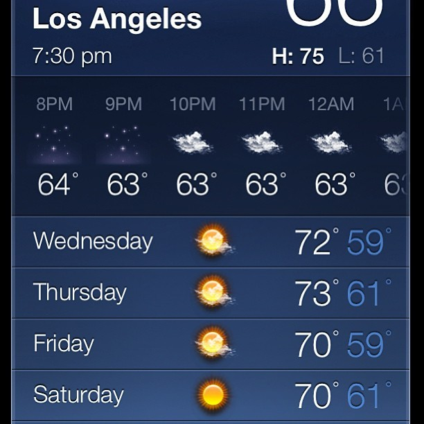 #losangeles bout to look good this week 😉. #california #cali #weather #la