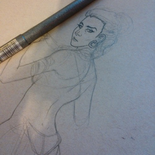Nursing a sore throat and a head cold. Slave Leia.  #fridaynightartdorks #art #illustration #sketch #starwars