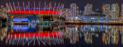 "qasic:  Ships and Stadiums Around False Creek Vancouver has a reputation for being a ""no fun"" city. I think photographers would disagree, especially with plenty of interesting things to take photos of at night!"