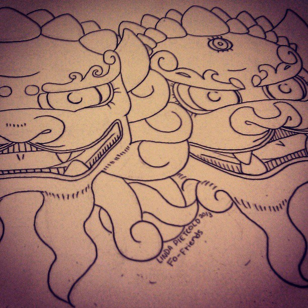 #Fo #dogs #dog #friends #friend #drawn #drawing #ink #inking #fun #progress #watercolor #paper