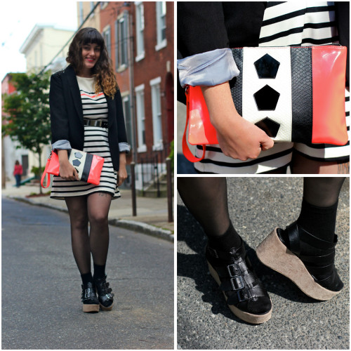 Neon and Stripes (by Lucy Briggs)I'm so happy that I found this little neon clutch because it matches the dress so perfectly! Without the spiked-shoulder blazer and different accessories, this dress would otherwise be pretty preppy.