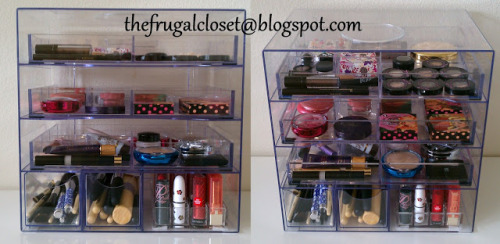 Alternative Acrylic Clear Cube Makeup Organizer : The Frugal Closet Great post on using affordable clear acrylic storage pieces to store your make up. Using two Rubbermaid Office Solution Optimizers and a multitude of clear acrylic trays your make up would be neatly organized and kept visible for optimum use. Some ideas for the clear acrylic trays: Poker chip tray for round potted cosmetics. 24 Lipstick Organizer Clear Finishing Tray 4 Compartment Valet Makes me wish I had more make up just so I could store it better.