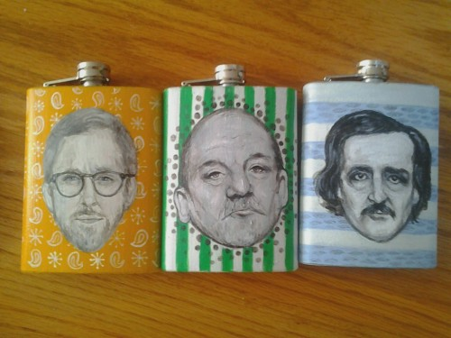 outmagourd:  a poor quality picture of some flasks i paintedYAY BOOZE* *   i paint alcohol containers YAH