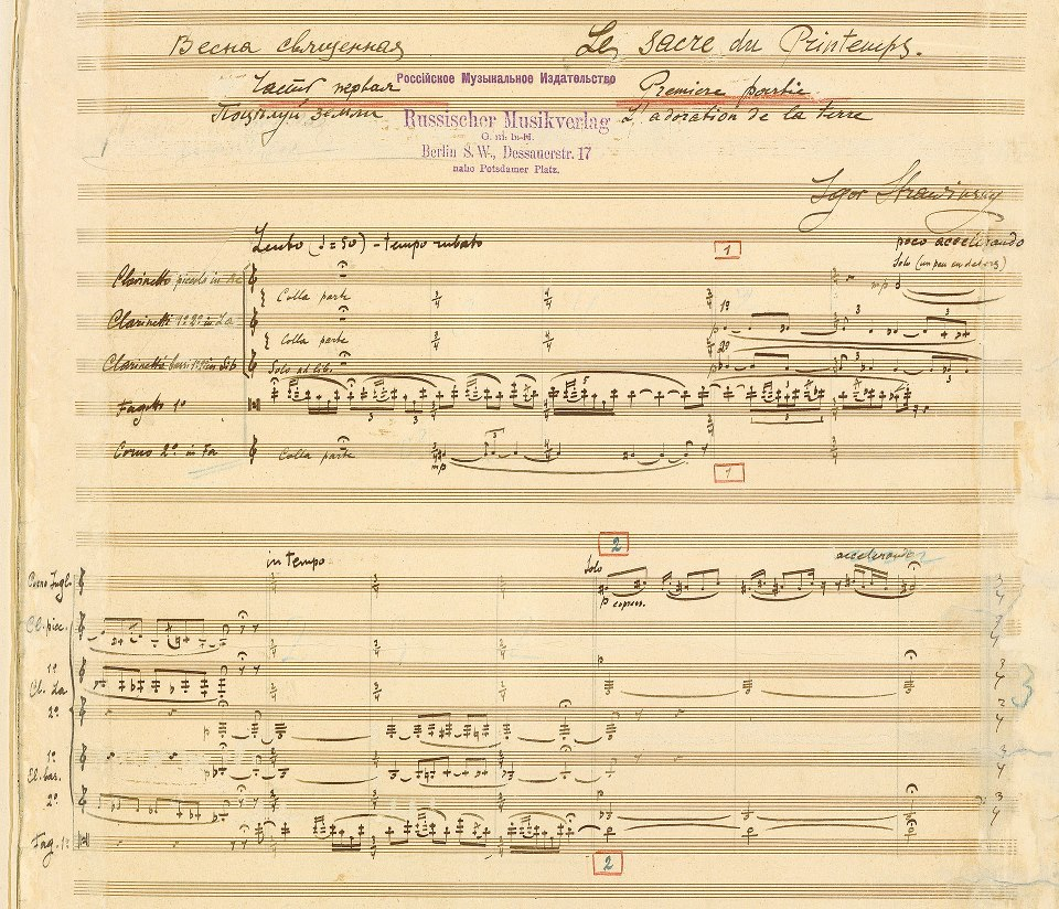 amusiclibrary:  The Rite of Spring: Igor Stravinsky's own hand-written manuscripts are published for the first time in 2013  And at no time is it more vital to think about the coming season. Winter be gone! ~Trent Gilliss, senior editor
