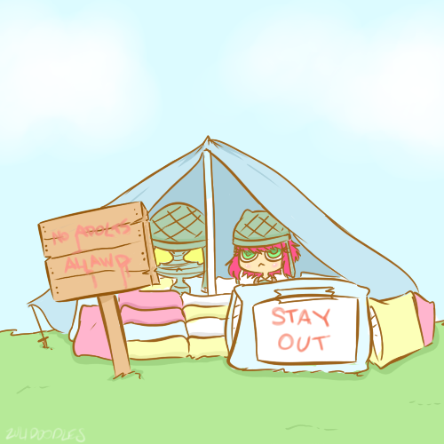 """zulidoodles:  """"All we have to do is stay in this pillow fort for the next nine months, and we'll be fine!"""" >lc"""